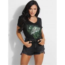 GUESS tričko Estella V-neck Logo Tee černé vel. L