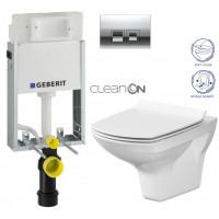 GEBERIT - SET KOMBIFIXBasic včetně ovládacího tlačítka DELTA 50 CR pro závěsné WC CERSANIT CLEANON CARINA + SEDÁTKO (110.100.00.1 50CR CA3)