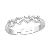 OLIVIE Stříbrný prstýnek 4 srdíčka 4410