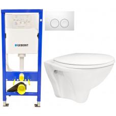 GEBERIT - SET Duofix Sada pro závěsné WC 458.103.00.1 + tlačítko DELTA21 bílé + WC ARES + SEDÁTKO (458.103.00.1 21BI AR1)