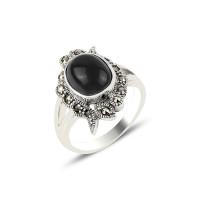 OLIVIE Masivní prsten ONYX a MARKAZIT 4284 Velikost prstenů: 9 (EU: 59-61)