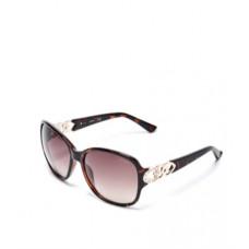 GUESS brýle Oversized Chain-Trim Sunglasses tmavohnědé vel.