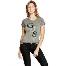 GUESS tričko Irisa Staggered Logo tee šedé vel. XS