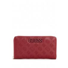 GUESS peněženka Janelle Logo-Debossed Check Organizer merlot vel.