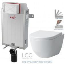 ALCAPLAST - SET Renovmodul - předstěnový instalační systém + WC LAUFEN PRO LCC RIMLESS + SEDÁTKO (AM115/1000 X LP2)