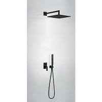 TRES - Podomítkový jednopákový sprchový sets uzávěrem a regulací průtoku. Včetně podomítkového tělesa Pevná sprcha 300x300 (21198091NM)