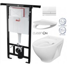 ALCAPLAST - SET Jádromodul - předstěnový instalační systém + tlačítko M1710 + WC CERSANIT CLEANON MODUO + SEDÁTKO (AM102/1120 M1710 MO1)