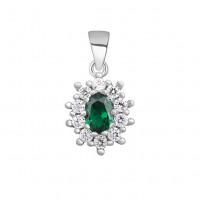OLIVIE Stříbrný smaragdový přívěsek 4347