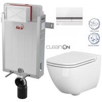 ALCAPLAST - SET Renovmodul - předstěnový instalační systém + tlačítko M1720-1 + WC CERSANIT CLEANON CASPIA + SEDÁTKO (AM115/1000 M1720-1 CP1)