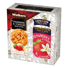 Dárková sada Jahoda Walkers sušenky, čaj London