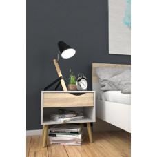 Retro noční stolek Oslo 75394 bílý/struktura dubu - TVI