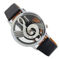 Unisex kožené hodinky Houslový klíč - 2 barvy Barva: Černá