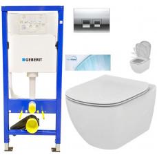 GEBERIT - SET Duofix Sada pro závěsné WC 458.103.00.1 + tlačítko DELTA50 CHROM + WC TESI se sedátkem SoftClose, AquaBlade (458.103.00.1 50CR TE1)