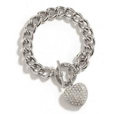GUESS náramek Silver-Tone Rhinestone Heart stříbrný vel. P390244154A
