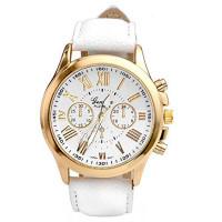 Unisex kožené hodinky Geneva Atraktivnost - 5 barev Barva: Bílá
