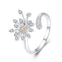 OLIVIE Stříbrný prsten TŘPYTIVÝ KVĚT 3791