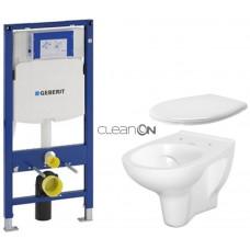 GEBERIT - SET Duofix pro závěsné WC 111.300.00.5 bez ovládací desky + WC CERSANIT ARTECO CLEANON + SEDÁTKO (111.300.00.5 AT2)