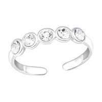 OLIVIE Stříbrný prstýnek s 5 krystalky 4434