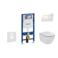 Geberit Sada pro závěsné WC + klozet a sedátko softclose Ideal Standard Tesi - sada s tlačítkem Sigma30, bílá/lesklý chrom/bílá 111.300.00.5 NE5