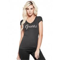 GUESS tričko Ceelie Sequin Logo V-Neck Tee černé vel. XS