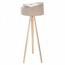 Stojací lampa Awena béžová + bílý vnitřek + dřevěné nohy