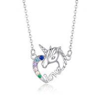 OLIVIE Stříbrný náhrdelník JEDNOROŽEC V SRDCI 3412