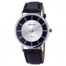 Úžasné unisex kožené Retro hodinky Geneva - 4 barvy Barva: Černá