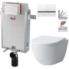 ALCAPLAST - SET Renovmodul - předstěnový instalační systém + tlačítko M1720-1 + WC LAUFEN PRO + SEDÁTKO (AM115/1000 M1720-1 LP3)