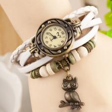Kožené Vintage hodinky Sova - 2 barvy Barva: Bílý