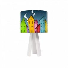 Dětská stolní lampa Night House + bílý vnitřek + bílé nohy