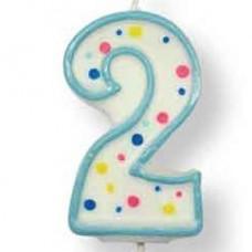 Svíčka dortová, modrá - číslo 2