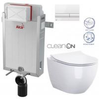 ALCAPLAST - SET Renovmodul - předstěnový instalační systém + tlačítko M1710 + WC OPOCZNO CLEANON URBAN HARMONY + SEDÁTKO (AM115/1000 M1710 HA1)