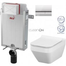 ALCAPLAST - SET Renovmodul - předstěnový instalační systém + tlačítko M1721 + WC CERSANIT CLEANON CREA ČTVEREC+ SEDÁTKO (AM115/1000 M1721 CR2)