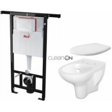 ALCAPLAST - SET Jádromodul - předstěnový instalační systém + WC CERSANIT ARTECO CLEANON + SEDÁTKO (AM102/1120 X AT2)