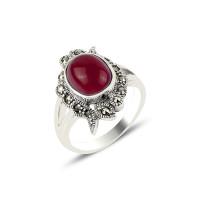 OLIVIE Prsten z červeného achátu a markazitu 4283 Velikost prstenů: 9 (EU: 59 - 61)