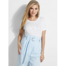 GUESS tričko Satinette Shimmering Logo Tee biele vel. XS