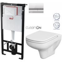 ALCAPLAST - SET Sádromodul - předstěnový instalační systém + tlačítko M1721 + WC CERSANIT CLEANON COLOUR + SEDÁTKO (AM101/1120 M1721 CN1)