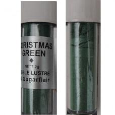 Sugarflair Jedlá prachová perleťová barva Christmas green (Vánoční zelená), 2g
