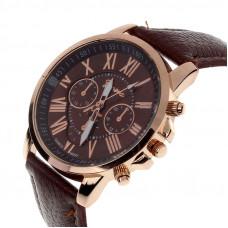 Unisex kožené hodinky Geneva Atraktivnost - 5 barev Barva: Hnědá
