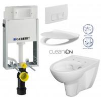 GEBERIT - SET KOMBIFIXBasic včetně ovládacího tlačítka DELTA 50 Bílé pro závěsné WC CERSANIT CLEANON PARVA + SEDÁTKO (110.100.00.1 50BI PA2)