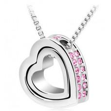 Stříbrný náhrdelník Dvojité srdce - 4 barvy Barva: Růžový