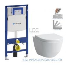 GEBERIT - SET Duofix pro závěsné WC 111.300.00.5 bez ovládací desky + WC LAUFEN PRO LCC RIMLESS + SEDÁTKO (111.300.00.5 LP2)