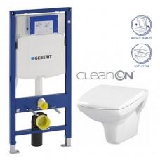 GEBERIT - SET Duofix pro závěsné WC 111.300.00.5 + klozet a sedátko CERSANIT CARINA CLEANON /K31-046+K98-0069/ (111.300.00.5 CA2)