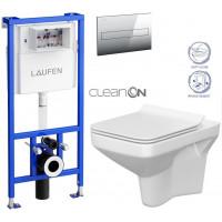 LAUFEN - Rámový podomítkový modul CW1 SET + ovládací tlačítko CHROM + WC CERSANIT COMO CLEANON + SEDÁTKO (H8946600000001CR CO1)