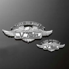 Emblém samolepící Highway Hawk V-TWIN LTR, 55mm - Chrom - Highway Hawk HWH 01-299
