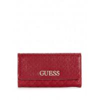 GUESS peněženka Wilona Debossed Logo Large Clutch Wallet merlot vel.