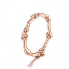 OLIVIE Stříbrný prsten SRDÍČKA ROSE 3782 Velikost prstenů: 7 (EU: 54 - 56)