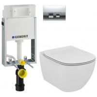 GEBERIT - SET KOMBIFIXBasic včetně ovládacího tlačítka DELTA 50 CR pro závěsné WC TESI (110.100.00.1 50CR TE3)