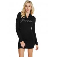 GUESS šaty Joss Rhinestone Logo Sweater Dress černé vel. S