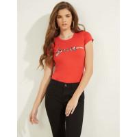 GUESS tričko Eco Rhinestone Logo Tee červené vel. L